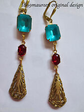 Art Deco Art Nouveau earrings turquoise blue red vintage Edwardian style long