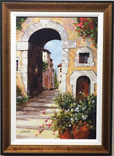 "Guido Borelli ""L'Arco Del Borgo"" CUSTOM FRAMED Hand Signed #'d GICLEE on Canvas"