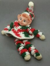 Vintage Crochet Christmas Elf Doll - lot b1b