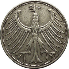 1951 Germany 5 Deutsche Marks Coat of Arms Silver German Coin Eagle i53627