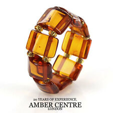 Opaque Dark Fiery Orange BALTIC AMBER Elastic Ring RB045 RRP-£35