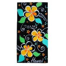 "Hawaiian Hawaii Beach / Pool / Bath Towel 60"" x 30"" ~ Blk Island Plumeria #50301"