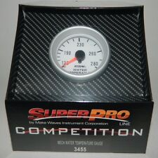 "NEW SUPERPRO COMPETITION 2 1/16"" MECHANICAL WATER TEMP GAUGE w/ SENDER 100-280 F"