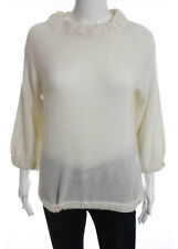 Vince Ivory Scoop Neck Long Sleeve Sweater Top Size Small