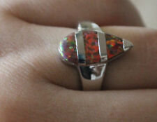 fire opal ring gems silver jewelry Sz 6 unique cocktail engagement wedding band