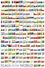 World Flags POSTER Wall Chart Educational Learning Guide Geography NEW