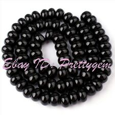 """5x8mm Smooth Rondelle Shape Black Agate Onyx Gemstone Spacer Beads Strand 15"""""""