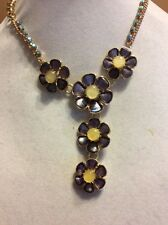 $68 Betsey Johnson Spring Ahead Purple Flower Drop Necklace  AB 3