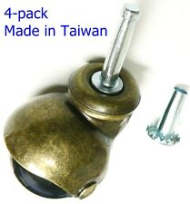 "Oajen 2"" antique brass ball caster with PVC ball, socket stem, pack of 4"