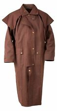 4XL WESTERN COWBOY OILSKIN DUSTER OUTBACK MENS DUSTER COAT DROVER JACKET BROWN