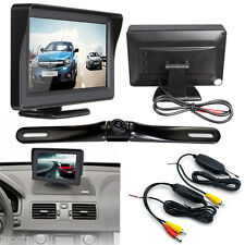 "Wireless Car Rear View IR Night License Plate Backup Camera Kit 4.3"" LCD Monitor"