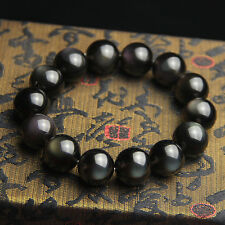 Natural Black Obsidian Rainbow Light Gemstone Beads Bracelet AAAA 16 mm