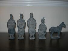 VINTAGE STYLE CHINESE WARRIORS CLAY FIGURINES x 5 EMPEROR QIN'S TERRACOTTA ARMY