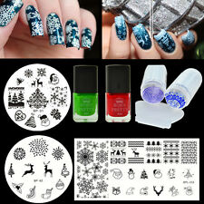 7Pcs BORN PRETTY Christmas Nail Art Stamping Plates Polish Stamper W/Scraper Kit