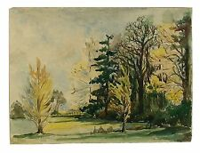 Autumn Trees Signed Unframed Retro Landscape Watercolour Painting M Harrison