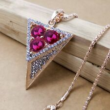 Fashion Gold-plated Triangle Mosaic crystal chain long necklace HH224