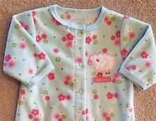 CARTER'S NEWBORN FLEECE FLORAL LAMB FOOTED SLEEP N PLAY OUTFIT ADORABLE REBORN