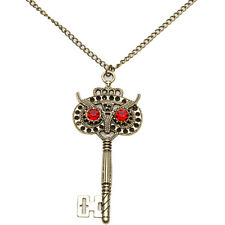Necklace Pendant Rhinestone Red Key Antique Gold Plated Jewelry Chunky Party