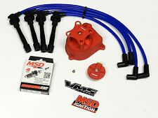 DISTRIBUTOR CAP + ROTOR + WIRES + MSD SPARK PLUGS 99-00 HONDA CIVIC B16 BL