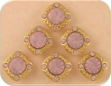 Beads 8mm Pink Opal Swarovski Crystal Elements ~ Gala GOLD ~2 Hole Sliders QTY 6