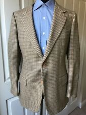 BRIONI Brown Blue Houndstooth Check Wool Mens Blazer Sport Coat Jacket US 40