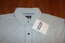 Patagonia Mens L/S Island Hopper II Shirt 52181 Modern Blue/White Plaid Size L