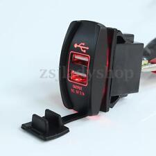 Red Car Truck Boat 12V&24V UTV LED Backlit Dual USB Charger Rocker Switch Panel
