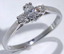 Marquis Cut Diamond Enagagement Ring 14k White Gold .28 ctw.