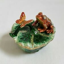 ❀ TREASURED TRINKETS By JULIANA ❀ FROG PRINCE, BUTTERFLY ON LILY PAD TRINKET BOX