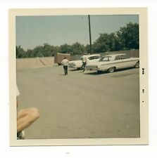 Vintage Photo Classic White Cars In Parking Lot, 1960's, Apl