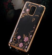 For Samsung Galaxy Note 4 - GOLD TPU RUBBER CASE COVER DIAMOND PINK FLOWER BLING