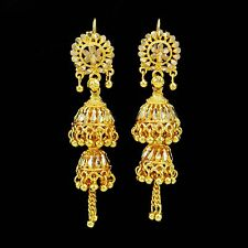 Traditional Ethnic Indian Gold Plated Jhumka Earrings Bollywood Jewelry BSE5459A