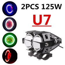 2x 125W CREE U7 LED Motorcycle Headlight ATV Bike Spot Fog Light Driving Lamp