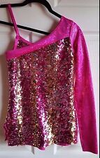 COSTUME GALLERY PINK SEQUINED TUNIC OVER SPANDEX SHORTS, 1 SLEEVE CHILD LG
