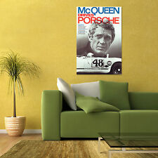 VINTAGE PORSCHE STEVE McQUEEN LE MANS AUTOMOTIVE SPORTS CAR LARGE POSTER 24x36
