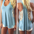 Fashion Women Summer Casual Blouse Tank Tops Sleeveless Lace Vest T-Shirt