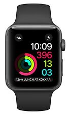 Apple Watch 2 Series 2 38mm Space Gray Aluminum Case, Black Sport Band Orig Box