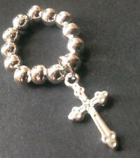 Bijoux 5mm silver ball stretch ring with cross charm boho festival