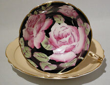 Rare Vintage PARAGON PINK ROSE on Black CUP & SAUCER Hand Painted c1937-1952
