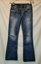 SILVER SUKI WOMENS SZ 26 X 32 BOOTCUT JEANS WORN /USE FOR CUT OFFS/ OR PATCH