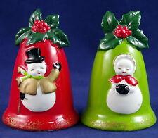 VTG LEFTON-JAPAN SNOWMAN COUPLE CHRISTMAS BELLS Salt & Pepper Shakers NEAR-MINT