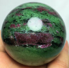 259g Natural Red Ruby in Green Zoisite Crystal Gem DT Sphere  HEALING BALL