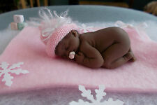 2.5 IN MINIATURE POLYMER CLAY OOAK ETHNIC STRAIGHT HAIR WINTER GIRL BABY DOLL ~