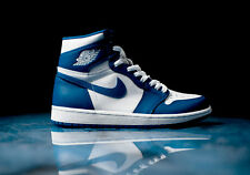 2017 Nike Air Jordan 1 Retro High OG Storm Blue SZ 12 White Blue 555088-127