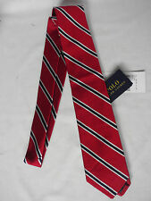 NEW Ralph Lauren Handmade In Italy Woven Red & Blue Striped Silk Tie RRP £85
