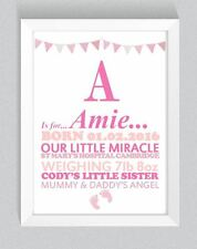 Baby Girl Boy Newborn Personalised Print A4 Nursery Room Gift Birth Design