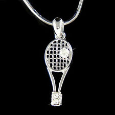 w Swarovski Crystal Sports Tennis Ball Racket racquetball Racquet Charm Necklace