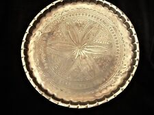 VINTAGE SOLID BRASS TRAY DETAILED ENGRAVED CHASING FLOWER CENTRE PIE RIM 11.5""