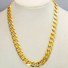 Real 18K Yellow Gold Filled Solid Cuban Curb Chain Mens Necklace 23.6 Inch 10mm