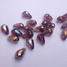20pcs purple red ab 8x12mm Teardrop Glass Faceted Loose Crystal Spacer Beads